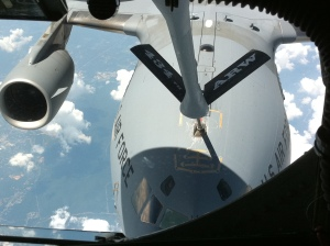 Refueling mid-air from a KC-135R
